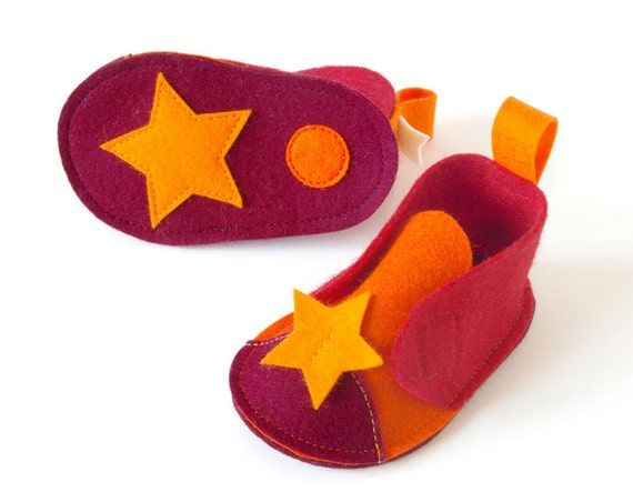Orange red baby girls shoes, Pepe Stars newborn crib shoes, soft baby booties, infant slippers