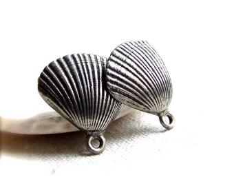 Seashell Pewter Ear Posts - Silvertone - 2 pcs.