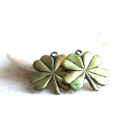 Green Patina Brass Four Leaf Clovers - 2 pcs. - Made in Ireland