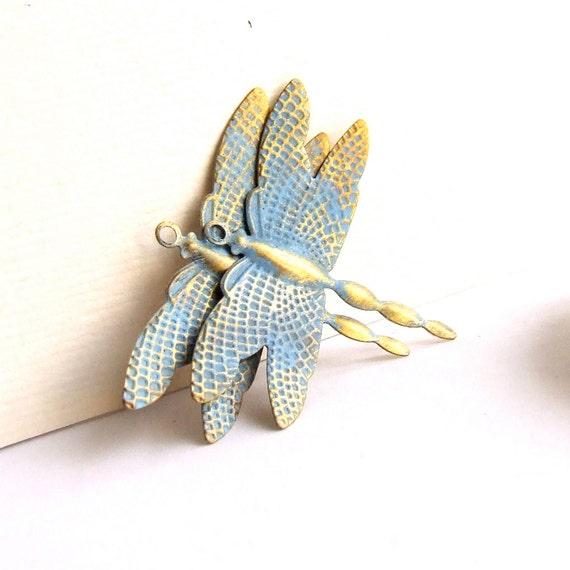 Pastel Blue Patina Brass Dragonfly Charms - 2 pcs. - Patina Components