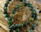 SALE Moss Agate Smooth Round Beads