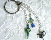 Keychain Purse Charm Zipper Pull Dragon Fly with Blue and Green Beading