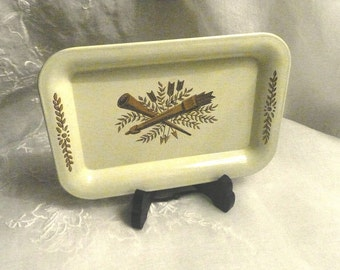 Vintage Tole Vanity Tray Small with Quills and Arrows Shabby Chic Cottage