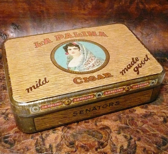 Vintage La Palina Cigar Tin Senators Great Graphics
