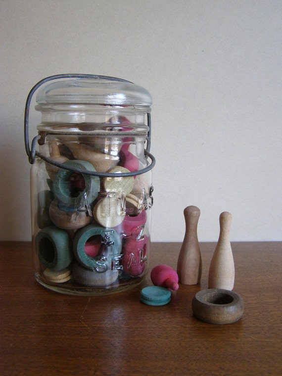 Vintage Wooden Pieces Assortment in Glass Jar - Assemblage Collage or Display