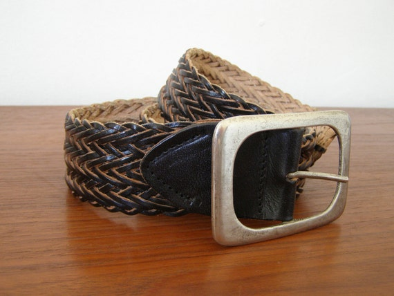 "ON SALE - Vintage Braided Leather Belt - Wide Width - Black / Natural - Silver Metal Buckle - Size LARGE 42"""