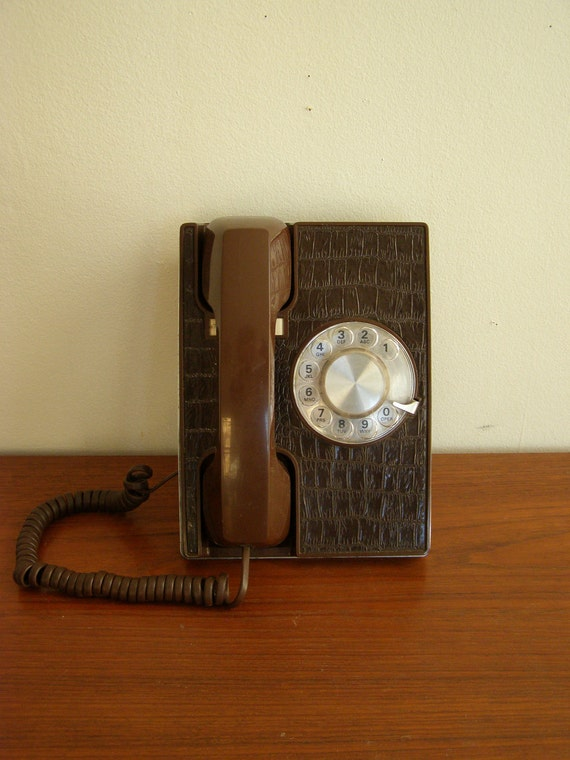 REPTILIAN RINGER. Vintage Rotary Desk Phone - Chocolate Brown - Faux Reptile Front - Western Electric