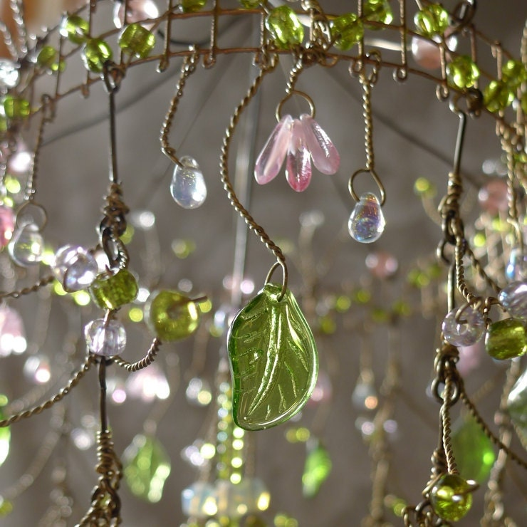 A Dainty Pink Sunshower Chandelier # Sunshower Blue_021322
