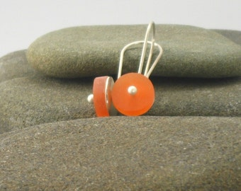 Orange Resin Earrings with Sterling Silver