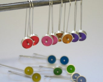 Drops of Color Dangle Earrings in Silver and Resin