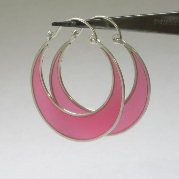 Sterling Silver and Resin Crescent Hoop Earrings