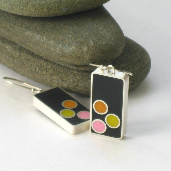 Sterling Silver and Resin Dangle Earrings in Orange, Pink, Yellow and Black