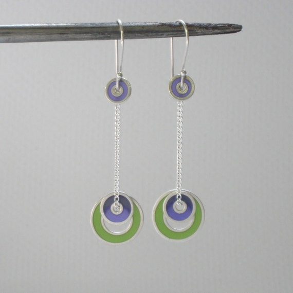 Sterling Silver and Resin Swinging Circles Dangle Earrings in Purple and Green