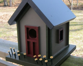 Birdhouse, Donette's Cottage, Tan with Green and Red Trim, Yellow Flowers