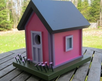 Birdhouse, Donette's Cottage, Pink with Purple Flowers