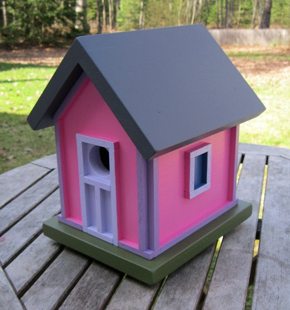 Birdhouse, Donette's Cottage, Pink with Purple