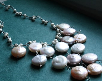 Coin Pearl Statement Necklace