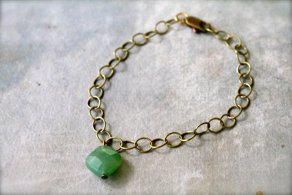 Delicate Adventurine and Antique Brass Bracelet