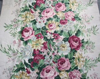 Vintage 36 Inch Wide Waverly Roses Garden Bouquet 1940s Fabric Huge Roses