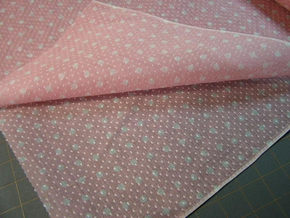 Vintage 35 Wide Pink Polka Dot Dotted Swiss Fabric half yard New Old Stock