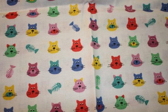 Kitty Cat Faces Fish Bones Fabric