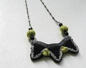 Black- grey- neon tribal necklace