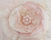 Paris Sweet Layered Lace and Feather Rosette Hair or Pin