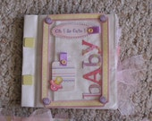 Hand Crafted Paper Bag Scrapbook - Baby Girl