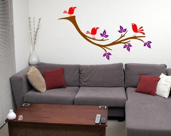 Tree Branch with 3 Cute Birds Vinyl Wall Decal