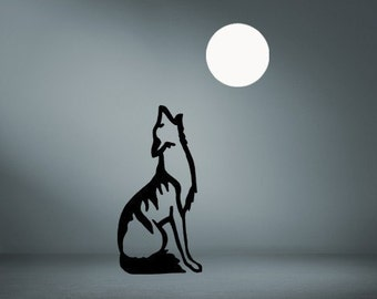Wolf Howling, Full Moon, Wall Decal, Night, Coyote, Southwest, Nature, Boys Room, Kids Room, Play Room, Den