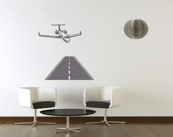 Final Approach Airplane Landing Vinyl Wall Decal