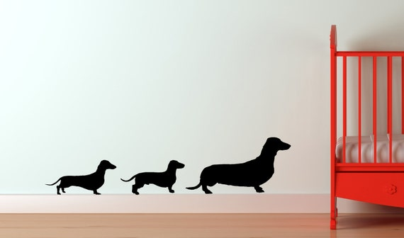 Dachshund Family Vinyl Wall Decal Doxie Dog Puppy Best Friend Childs Room Nursery Den Play Room Window Sticker