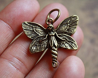 Antique Brass FAIRY BUTTERFLY Charm/Pendant,  Antique Brass Fairy Pendant, Fairy Charms, Fantasy Pendant, Antique Brass Butterfly Pendant