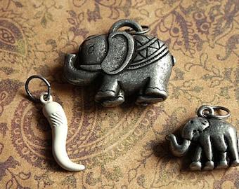 3pc Antique Silver MOTHER & BABY ELEPHANT Pendant/Charm set w/Ivory Tusk-Safari charm, Elephant charm, African charm, Animal jungle safari
