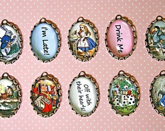 10 pcs ALICE in WONDERLAND Handmade Photo CHARM set-Mad Hatter-White Rabbit-Queen of Hearts-Tea Party-Alice in Wonderland charms