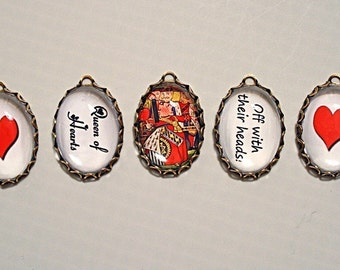 5 Pcs Alice in Wonderland-HORRID Red QUEEN of HEARTS Handmade Photo Charm set-Off with their heads-Queen of Hearts Charms-Wonderland charms