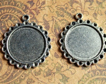 2 Qty 30mm ROUND TIBETAN Silver Pendant Bezels/DIY for Cabochons/Cabs, Photos, Clay and Resins-Tibetan Trays