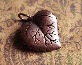 Antique Copper ASPEN LEAF Charm/Pendant, Copper Leaf Charm, Nature Charm, Copper leaf pendant, Fall leaf pendant, Autumn leaf pendant