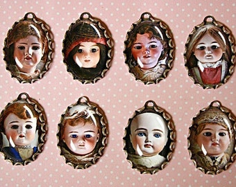 8pcs VINTAGE PORCELAIN DOLLS-Handmade Photo Charm Set in 25X18mm-Scary Creepy Dolls charms-Doll Charms