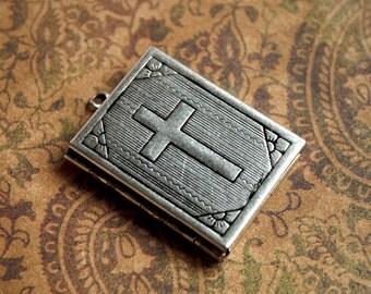 Large Antique Silver HOLY BIBLE LOCKET with Cross-Religious Bible Locket-Christian Bible Locket-Silver Photo Locket-Jesus Catholic locket