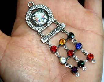 1 pc Antique Silver Military Style Multi-Colored Rhinestones Pendant with Word Strength-military jewelry-army pendant-military pendant