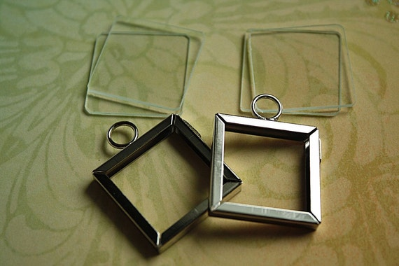 1 set-1x1in Square Nickel MEMORY Frames with 4 Pc Glass DIY Kit-Inchies-DIY Photo charms
