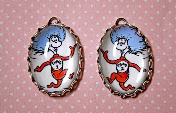 2 Pcs Dr SEUSS-THING 1 and THING 2 Handmade Phot Charm Set In 25X18mm oval Settings-Cat in the Hat-Cartoon-Children's Story-Twins Charm