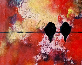 Original Abstract Painting Birds on a WIre, Valentines Lovebirds Couple Painting 8x8""