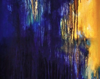 """ORIGINAL abstract painting 24x32"""" UNSTRETCHED Rolled in a tube, Navy Blue Royal Blue Yellow"""