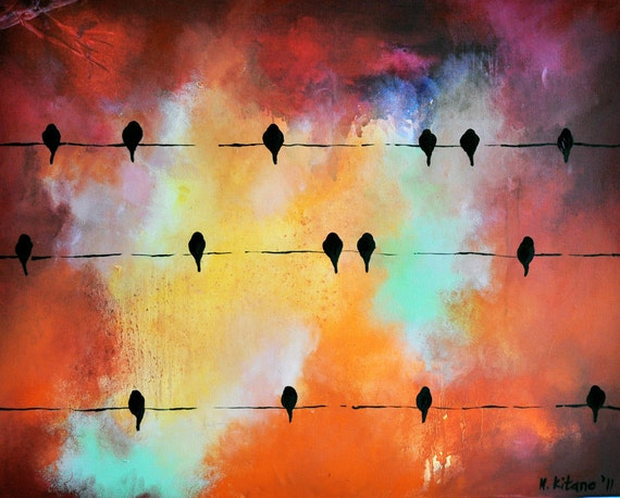 Birds on a wire 78 - original oil painting 35x27 inch SALE 50% OFF