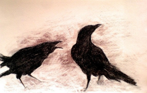 Winter crows 2 - original charcoal drawing , Halloween art 6x9,5 inch