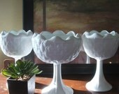 Vintage Milk Glass Vase Wedding Collection Set Centerpiece QUILTED RUFFLED Compotes Pedestal Trio