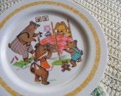 60s Melmac Plate Childrens GOLDILOCKS & THE 3 BEARS Oneida Deluxe Plastic Vintage Storybook