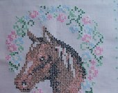 Cross Stitched Horse Head In Floral Wreath